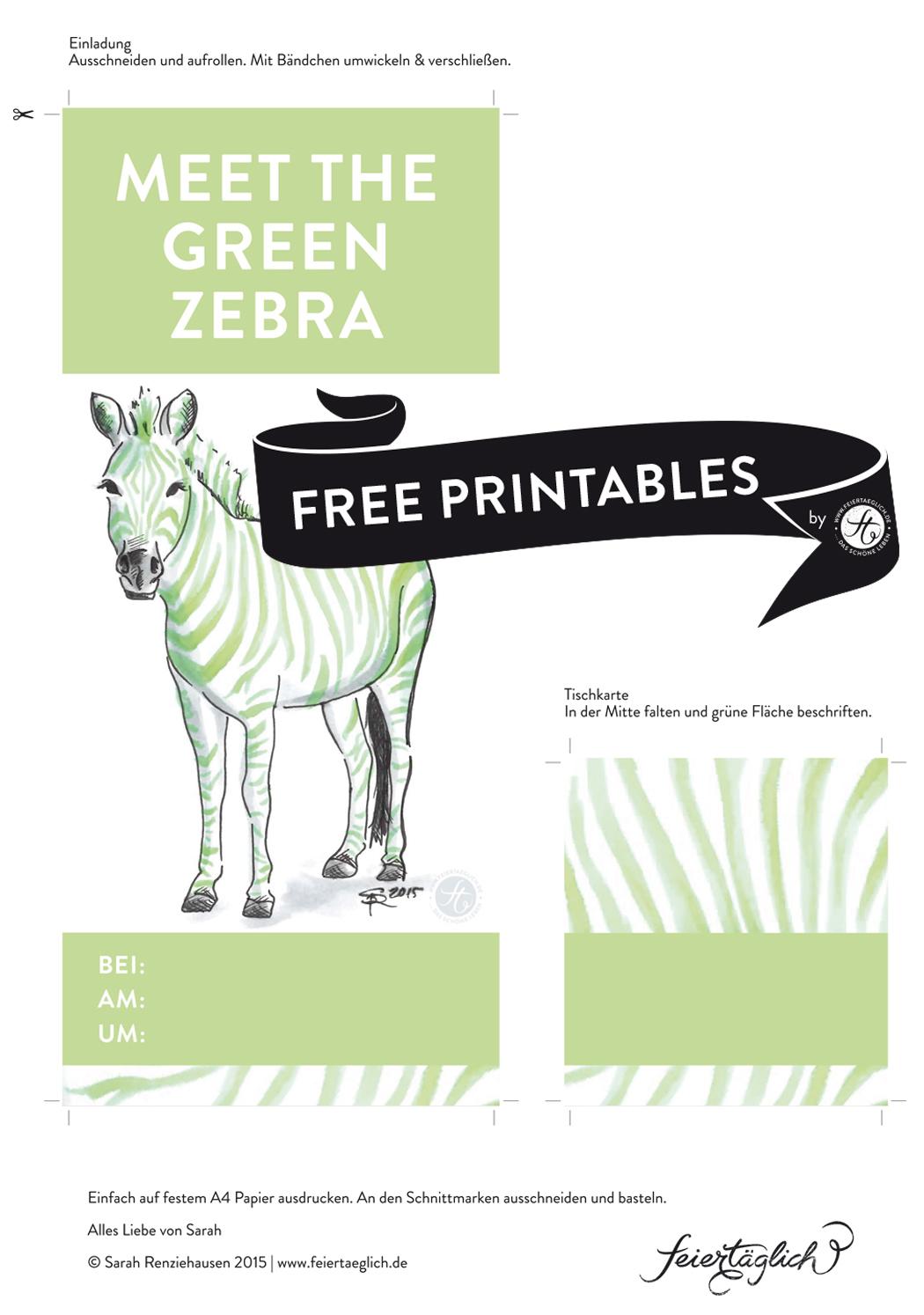 Einladung, Tischkarten, Green-Zebra-Party, Free Printables, Rezept für Kokos-Matcha-Green-Zebra Kuchen, Rührkuchen #meetthegreenzebra #ichbacksmir