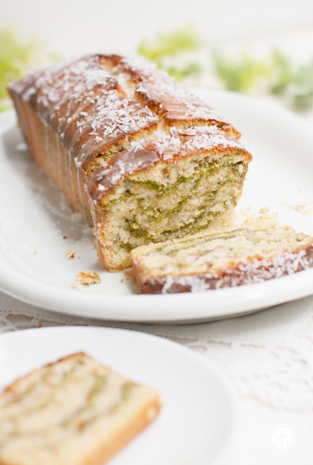 Rezept für Kokos-Matcha-Green-Zebra Kuchen, Rührkuchen #meetthegreenzebra #ichbacksmir