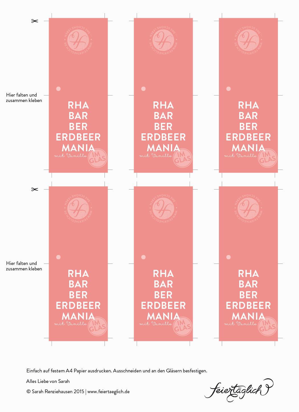 Rezept für Rhabarber-Erdbeer-Vanille Marmelade, Free Printable Labels, DIY #freeprintables #RhaBarBerMania #feiertaeglich