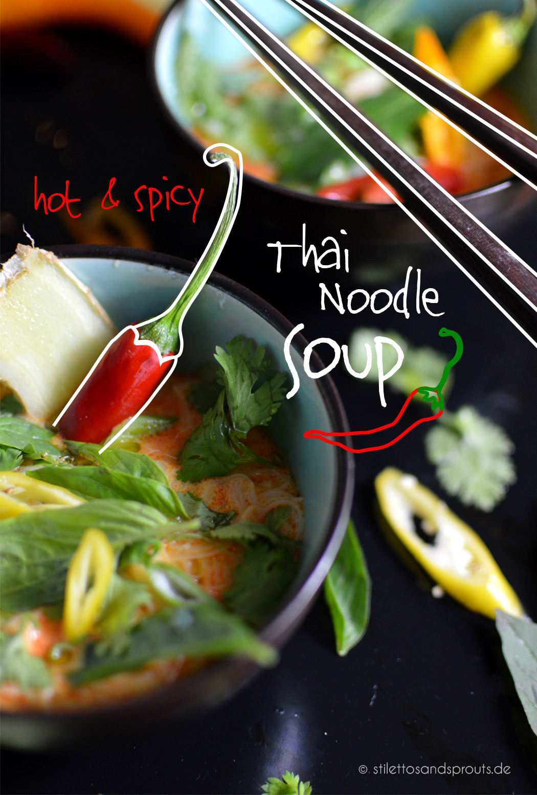 Rezept für Hot & Spicy Thai Noodle Soup mit Ingwer von Stilettos & Sprouts zum #SuperfoodSamstag bei feiertaeglich.de