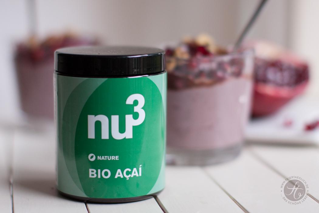 Acai-Superfood-Creme mit Granatapfel, Walnüssen und Schokosauce zum #Superfoodsamstag auf feiertäglich.de, Nu3