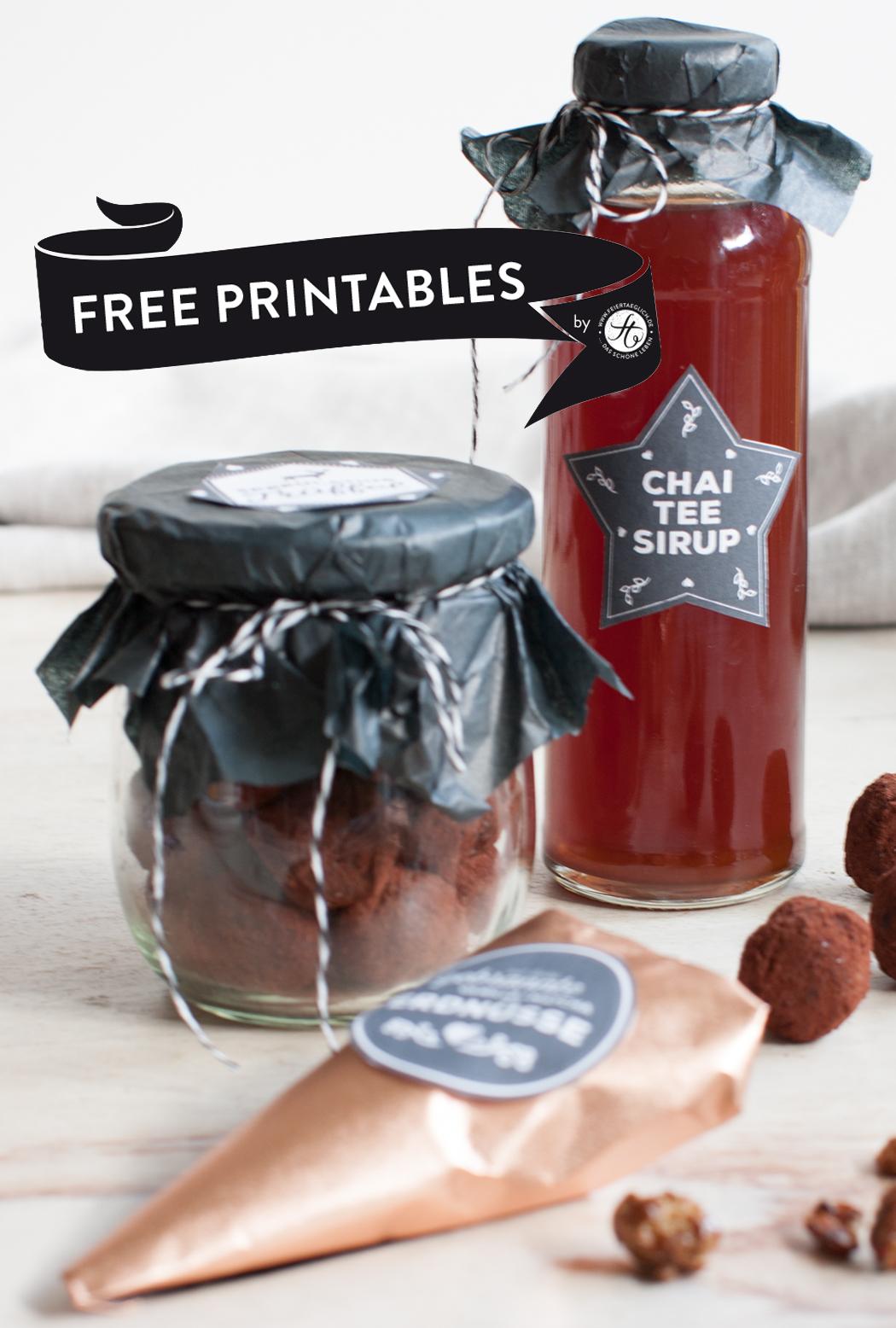 Geschenke aus der Küche: Chai-Tee-Sirup und alle Labels als free printables!