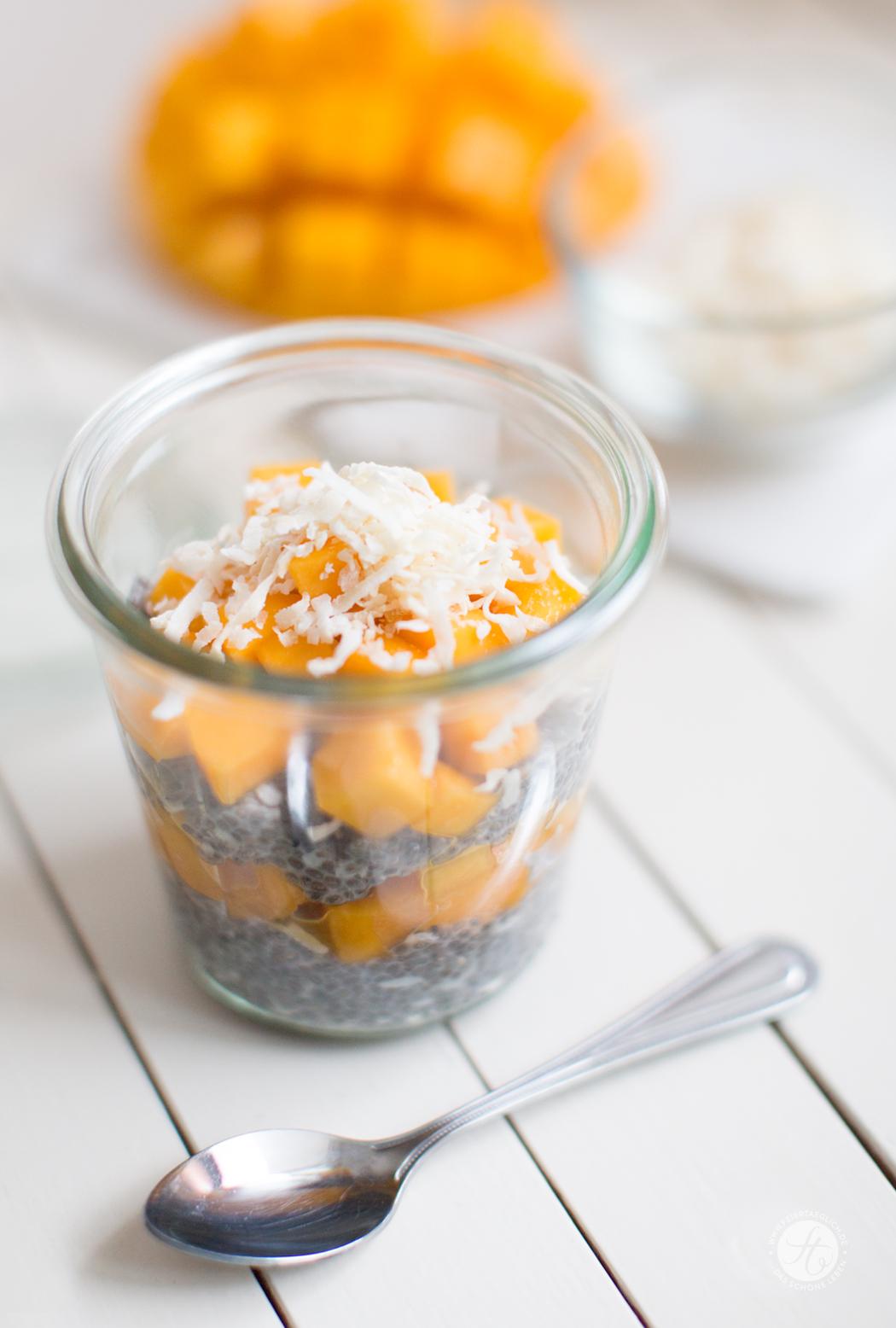 Kokos-Chia-Pudding mit Mango, Rezept