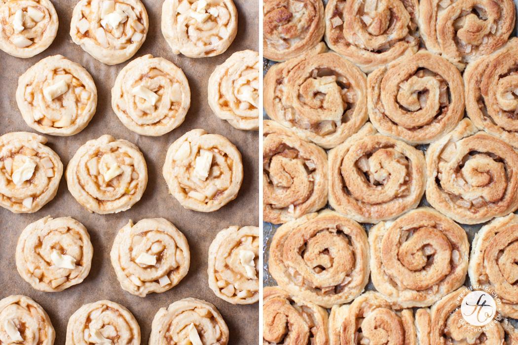 Apfel-Zimt-Schnecken mit Vanille-Guss, ein Rezept für knusprige und zugleich saftige Hefeschnecken, die definitiv die Nerven beruhigen | von feiertäglich.de