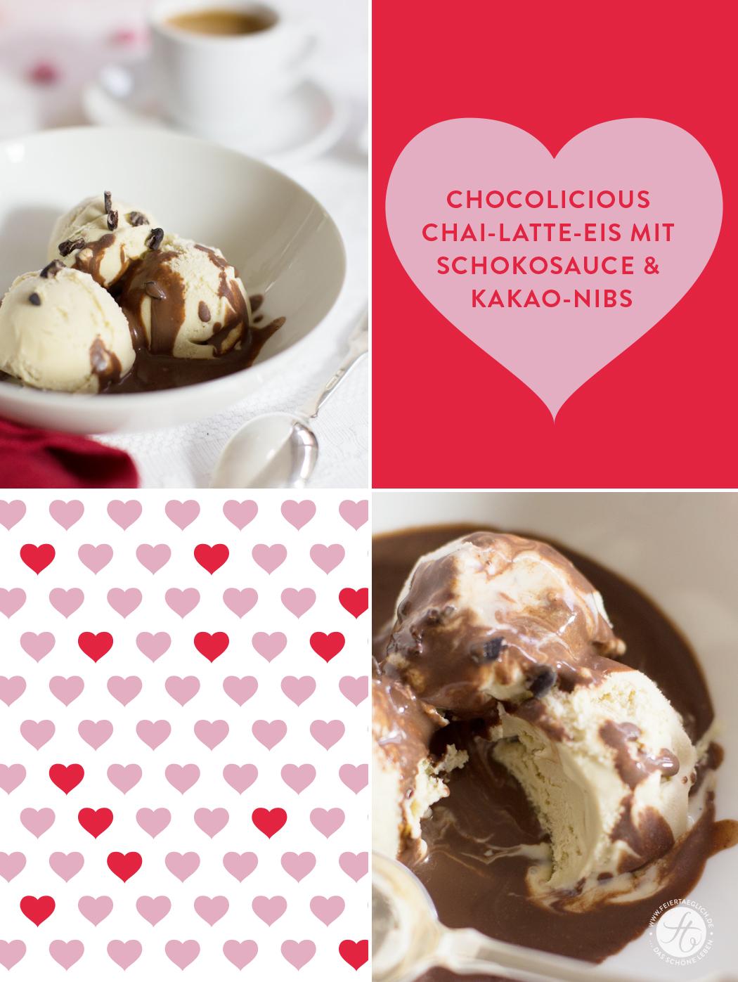Chocolicious Chai-Latte-Eis mit Schokosauce und Kakao-Nibs