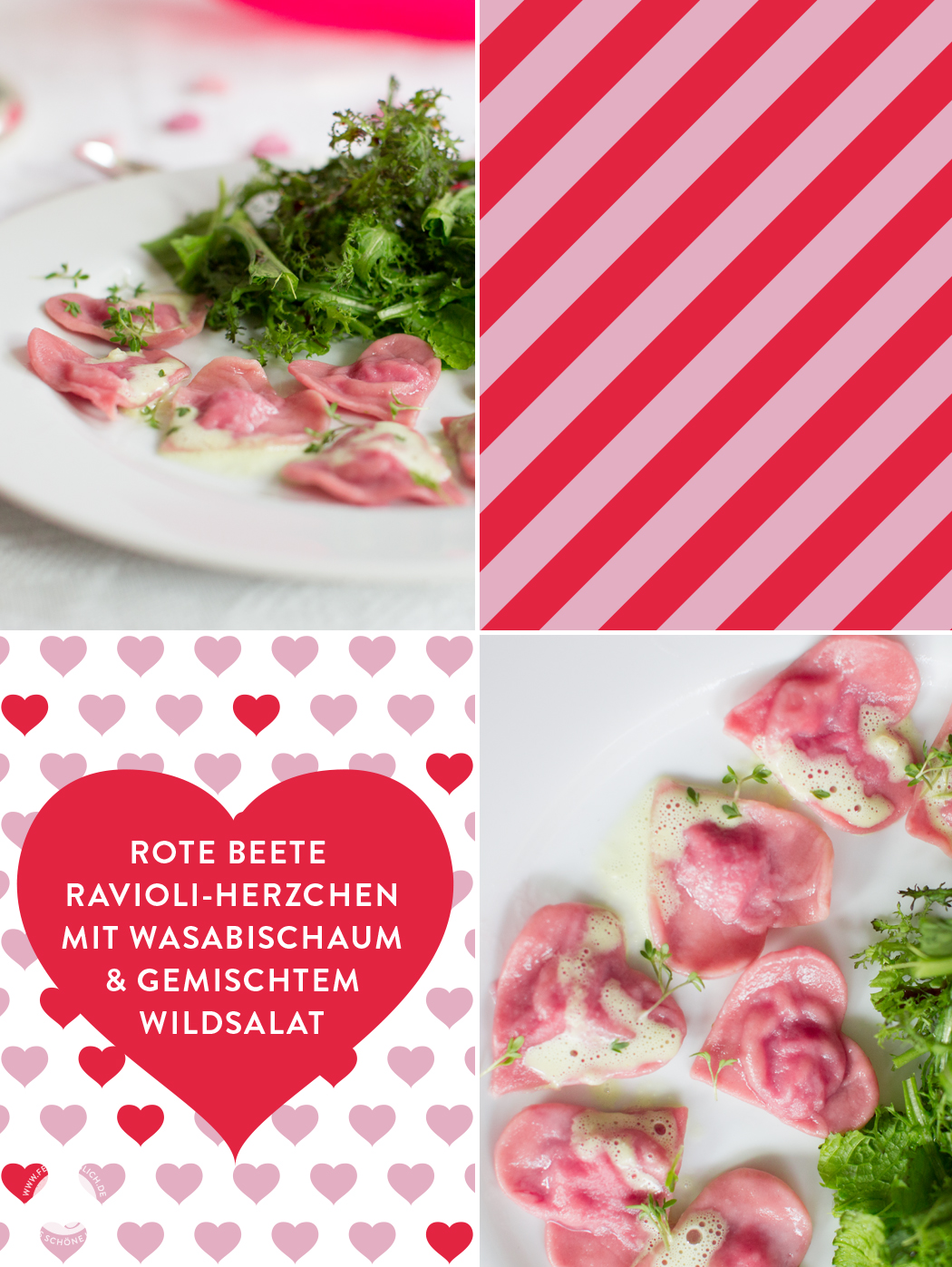 Menü zum Valentinstag...Die Hauptspeise: Rote Beete Ravioli-Herzchen mit Wasabischaum und gemischten Wildsalaten