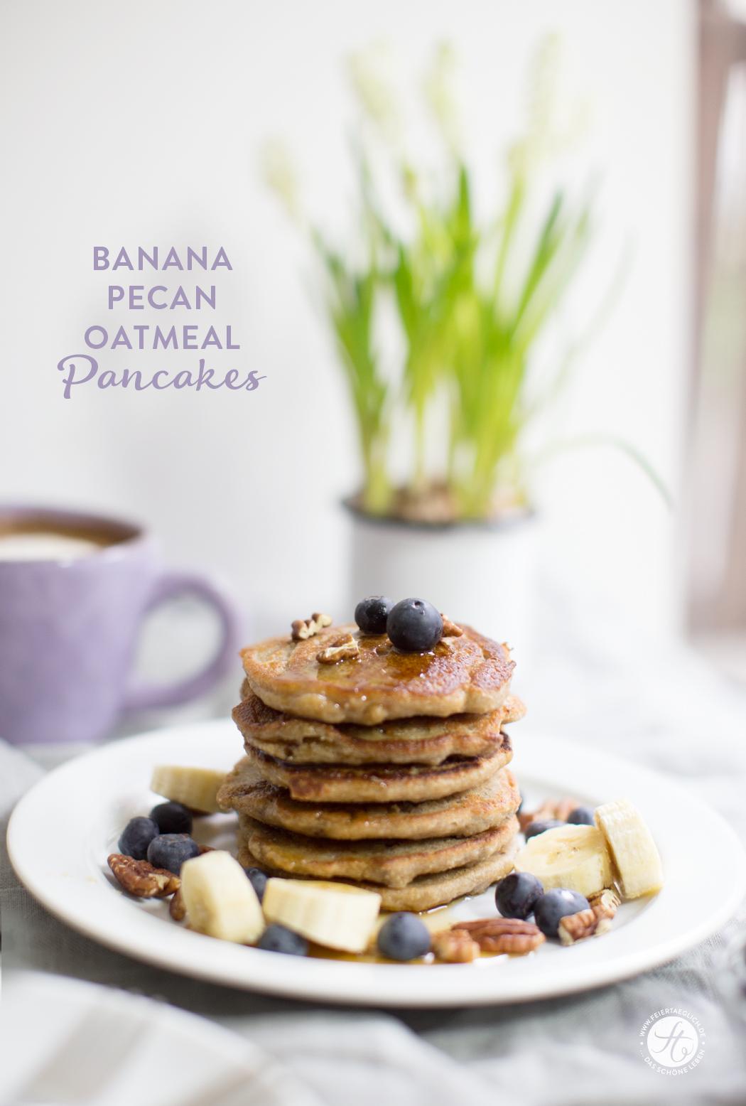 Banana-Oatmeal Pancakes mit Pekannüssen und Blaubeere, vegan und glutenfrei | Rezept von feiertäglich.de