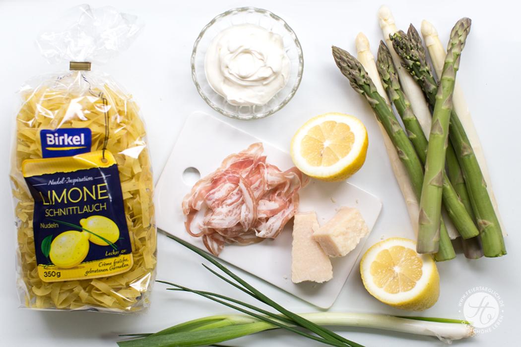Zitronen-Schnittlauch Pasta mit grünem & weißem Spargel, Parmesan und knusprigem Pancetta, Zutaten