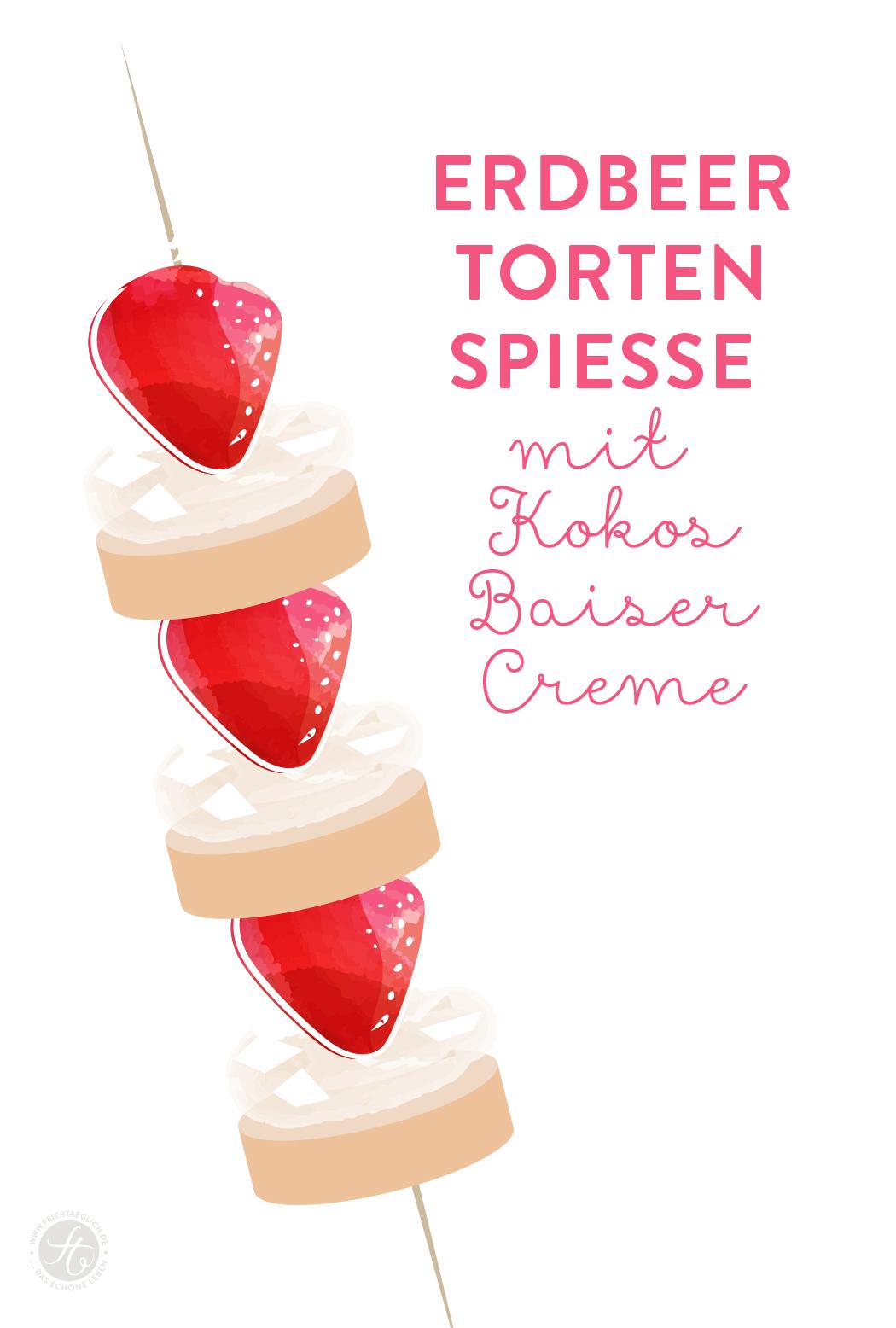 Skizze: Erdbeer-Torten-Spieße mit Kokos-Baiser-Creme | Rezept von feiertaeglich.de für das Sweet Paul Magazin