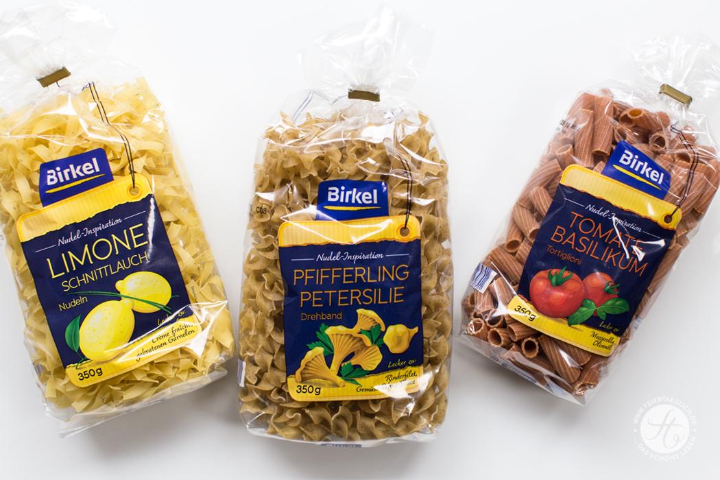 Birkel Nudel-Inspiration: Limone Schnittlauch, Pfifferling Petersilie, Tomate Basilikum