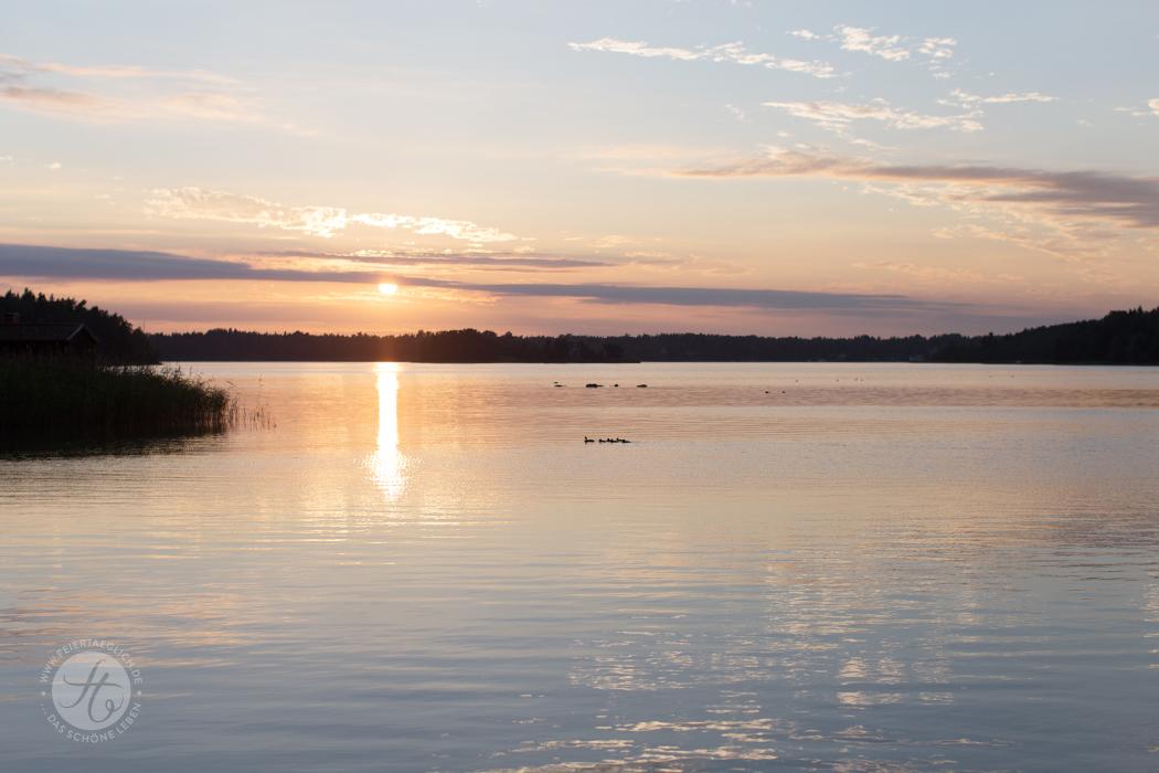 Sunset im Juli am Archipelago in Schweden