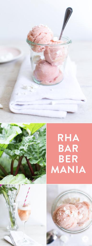 Rhabarber-Sorbet mit Baisers oder als Float mit Prosecco, soo lecker süß-sauer! Einfaches Rezept von feiertäglich.de #rhabarbermania