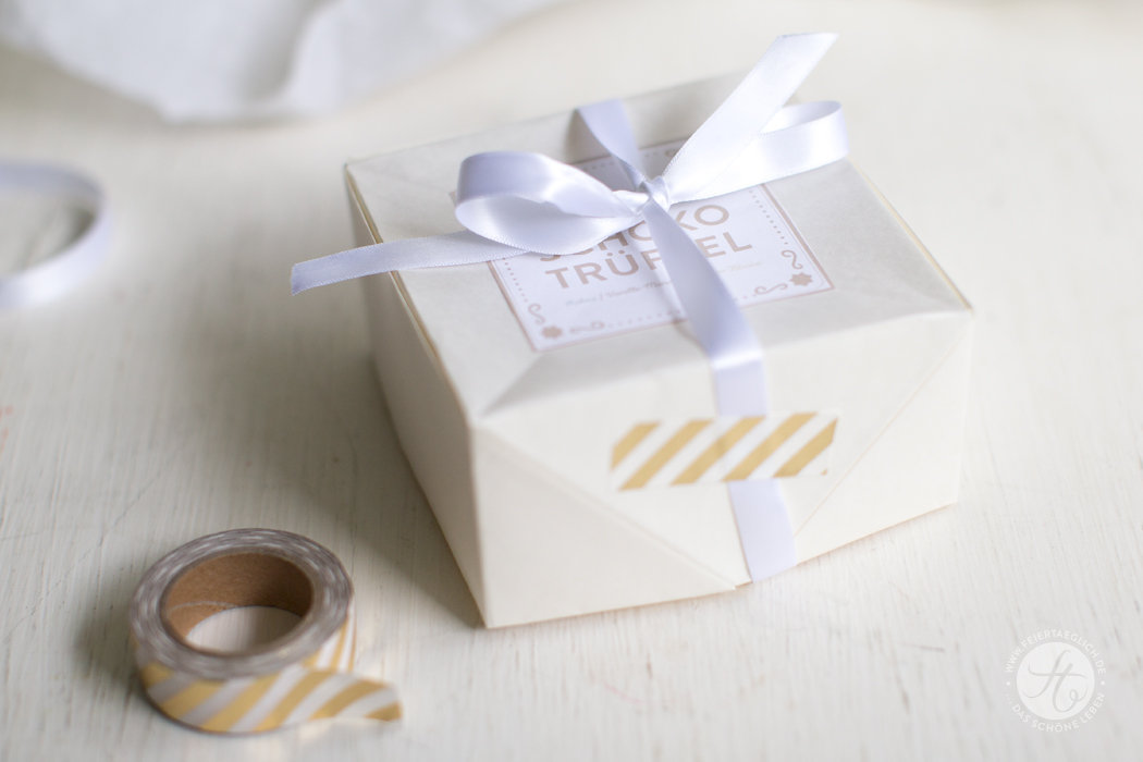 Weisse Schuko Trüffel, DIY Verpackung für Geschenke aus der Küche