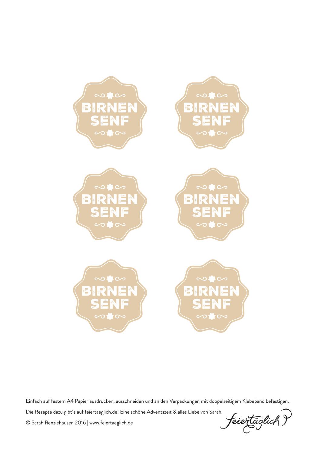 Geschenke aus der Küche: Birnensenf, scharf & süß, Freebie Printable Labels
