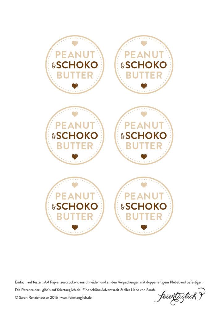 Geschenke aus der Küche: Peanut-Schoko-Butter & Free Printable Labels, Freebies von feiertaeglich.de