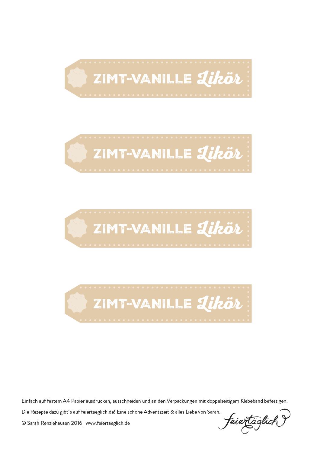 Labels für Zimt-Vanille-Likör, Freies, Free Printables, Geschenke aus der Küche