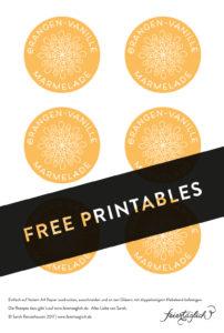 Orangen-Vanille Marmelade, free printable Labels