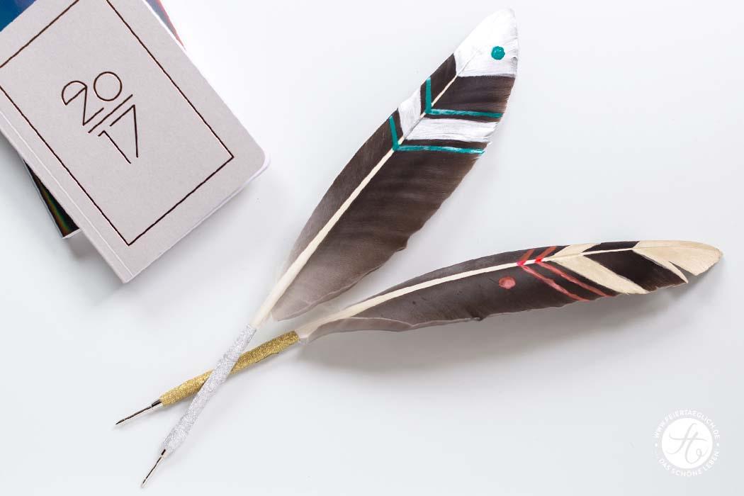 DIY Schreibfeder, Boho-Feeling für den Schreibtisch