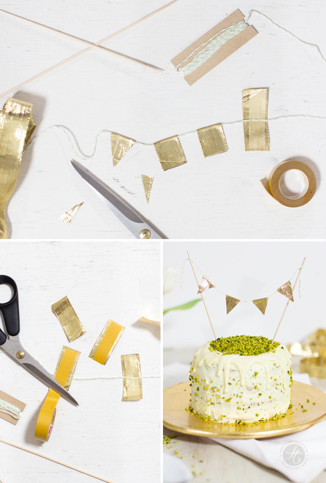 Pistazien-Torte mit Pistazien-Mascarponecreme und weisser Schokolade + DIY Wimpelkette –ein Traum in Pastellgrün und Gold // feiertäglich.de