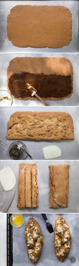 Saftiger Dinkelvollkorn-Hefezopf, gefüllt mit zimtigem Pflaumenpüree & Mandelmus, ein Klassiker zu Ostern, jetzt aber gesünder., Rezept, Zubereitung, Step By Step
