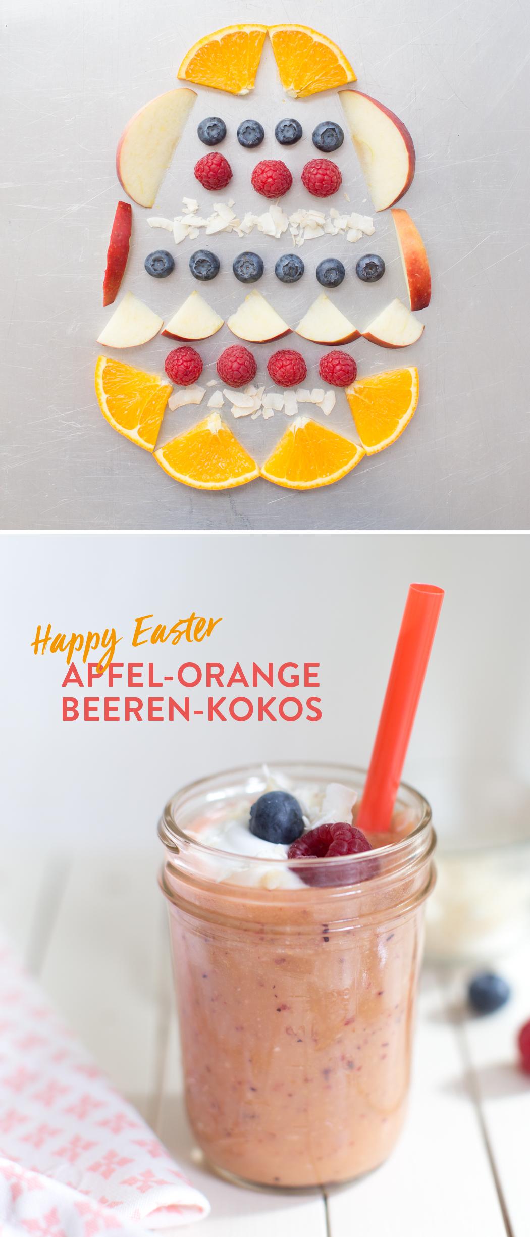 Ostermontags-Smoothie: Beeren-Apfel-Orange-Kokos-Smoothie
