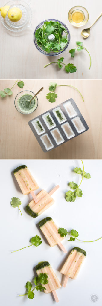 Pfirsich-Kokos-Koriander-Eispops, Rezept, Step by Step Zubereitung