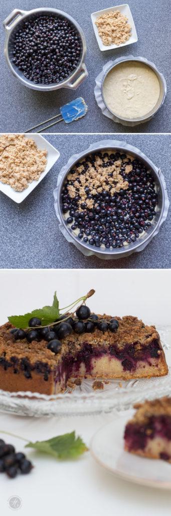 SchwarzerJohannisbeerkuchen mit Vanille-Mandel-Streuseln, Rezept