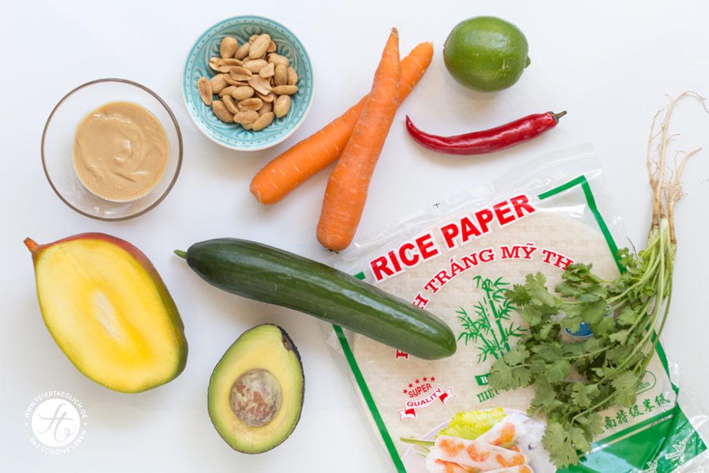 Sommerrollen mit Mango und Avocado, dazu Erdnuss-Sauce (vegan) – die Zutaten