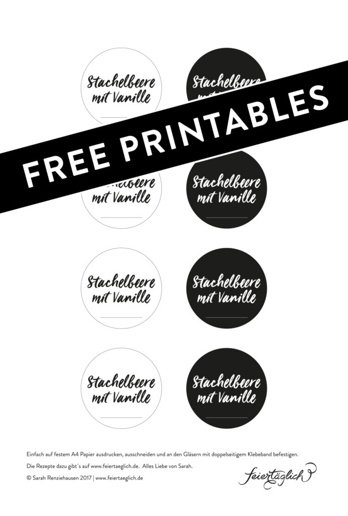 Stachelbeer-Vanille-Marmelade ohne Zucker, Rezept & frei printable Labels
