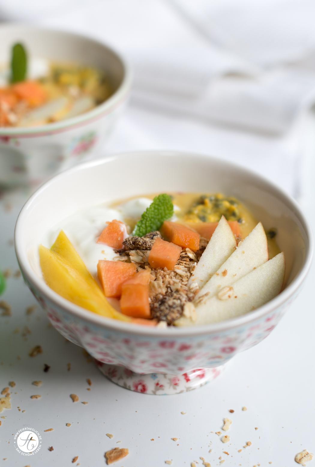 Schnelles Frühstücksglück: 3 x SmoothieBowl mit Mango: Mango-Nektarine-Erdbeere, Mango-Maracuja-Papaya, Mango-Basilikum