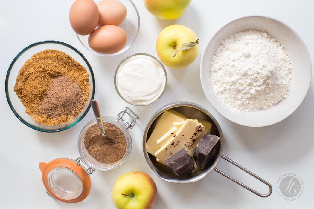 Schoko-Chai-Apfelkuchen, einfaches & schnelles Rezept, Zubereitung, Step by Step, Zutaten