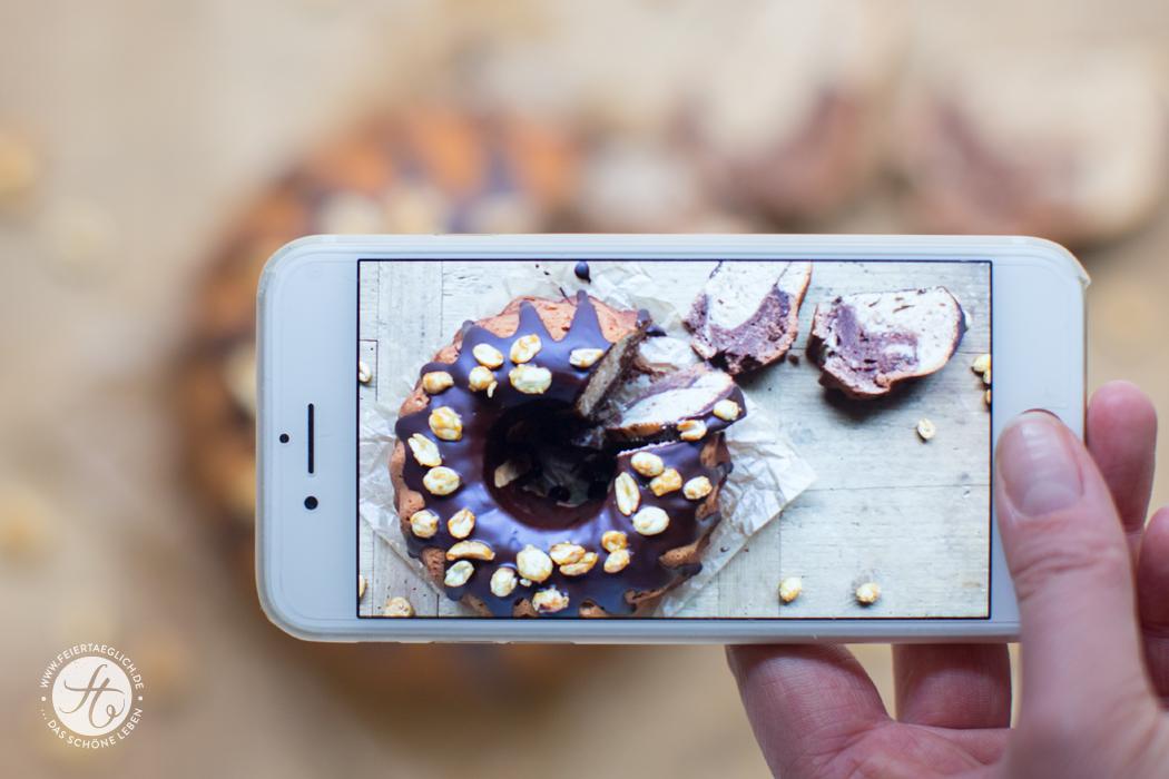Erdnussbutter-Schoko-Gugel mit karamellisierten Erdnüssen, iPhone