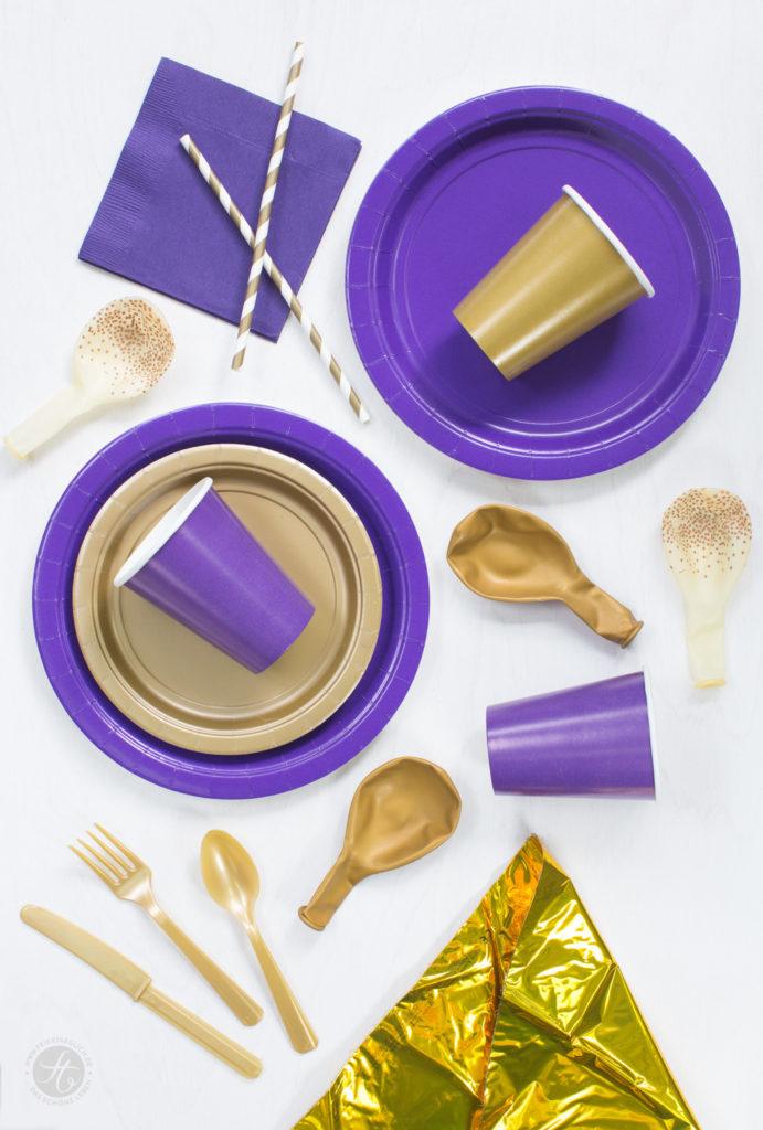Party-Paket (Pappgeschirr, Ballons, Strohalm, Servietten, Plastikbesteck) zur Goldener-Herbst-Party #happymottoparty