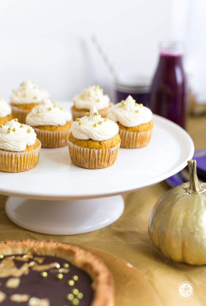 Kürbis-Cupcakes zur Goldener-Herbst-Party #happymottoparty