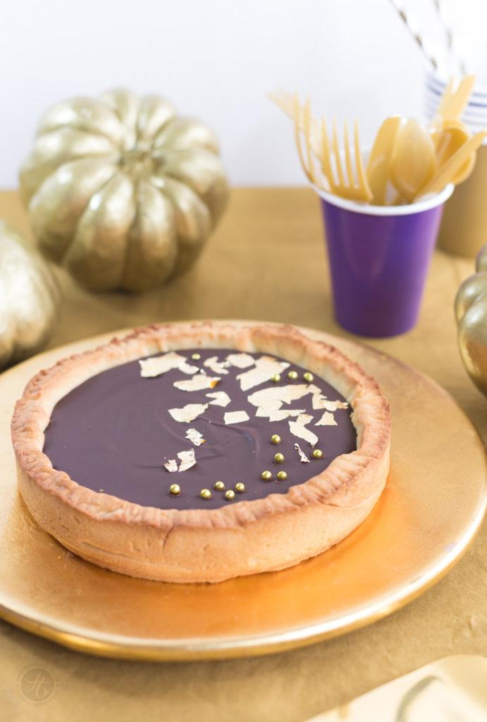 Schoko-Karamell-Tarte zur Goldener-Herbst-Party #happymottoparty