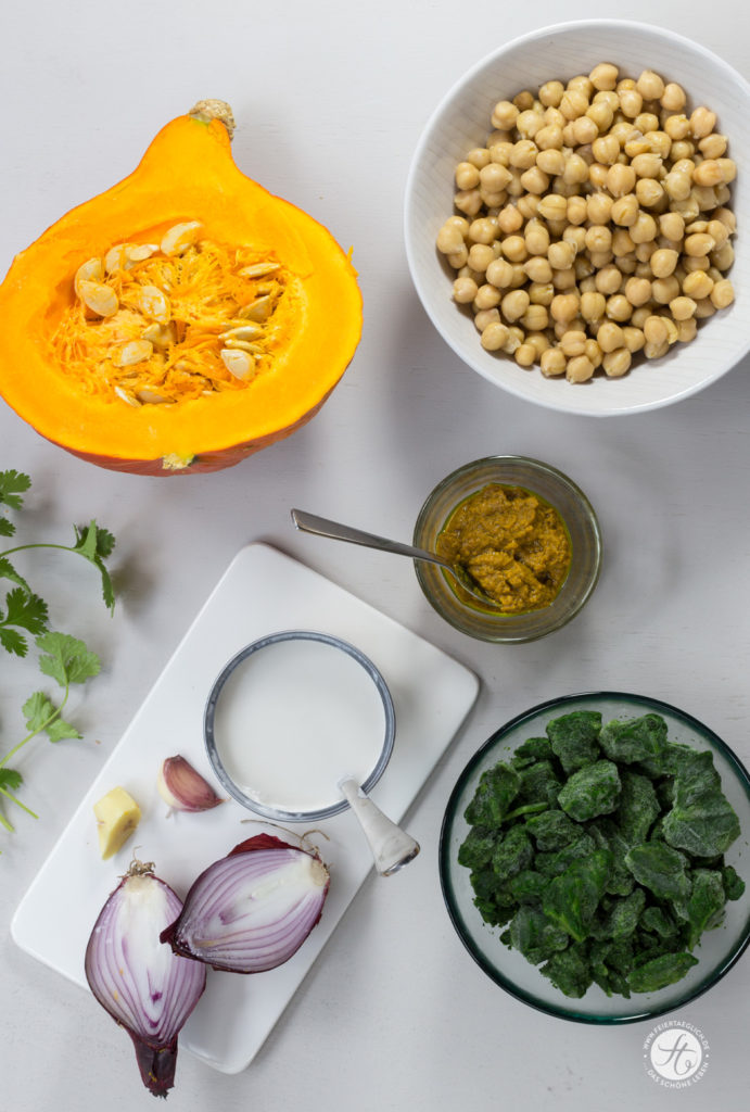 Schnelles Hokkaido-Kürbis-Curry mit Spinat und Kichererbsen, Zutaten