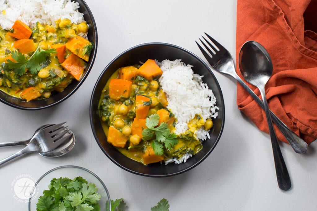 Schnelles Hokkaido-Kürbis-Curry mit Spinat und Kichererbsen, Rezept