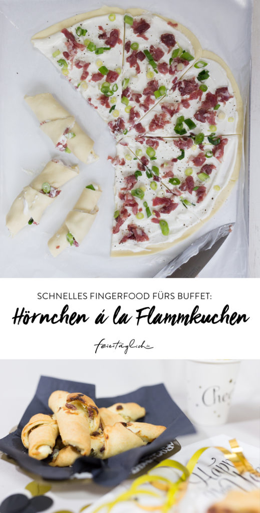 Schnelles Fingerfood fürs Buffet: Hörnchen á la Flammkuchen. #happymottoparty Sylvester