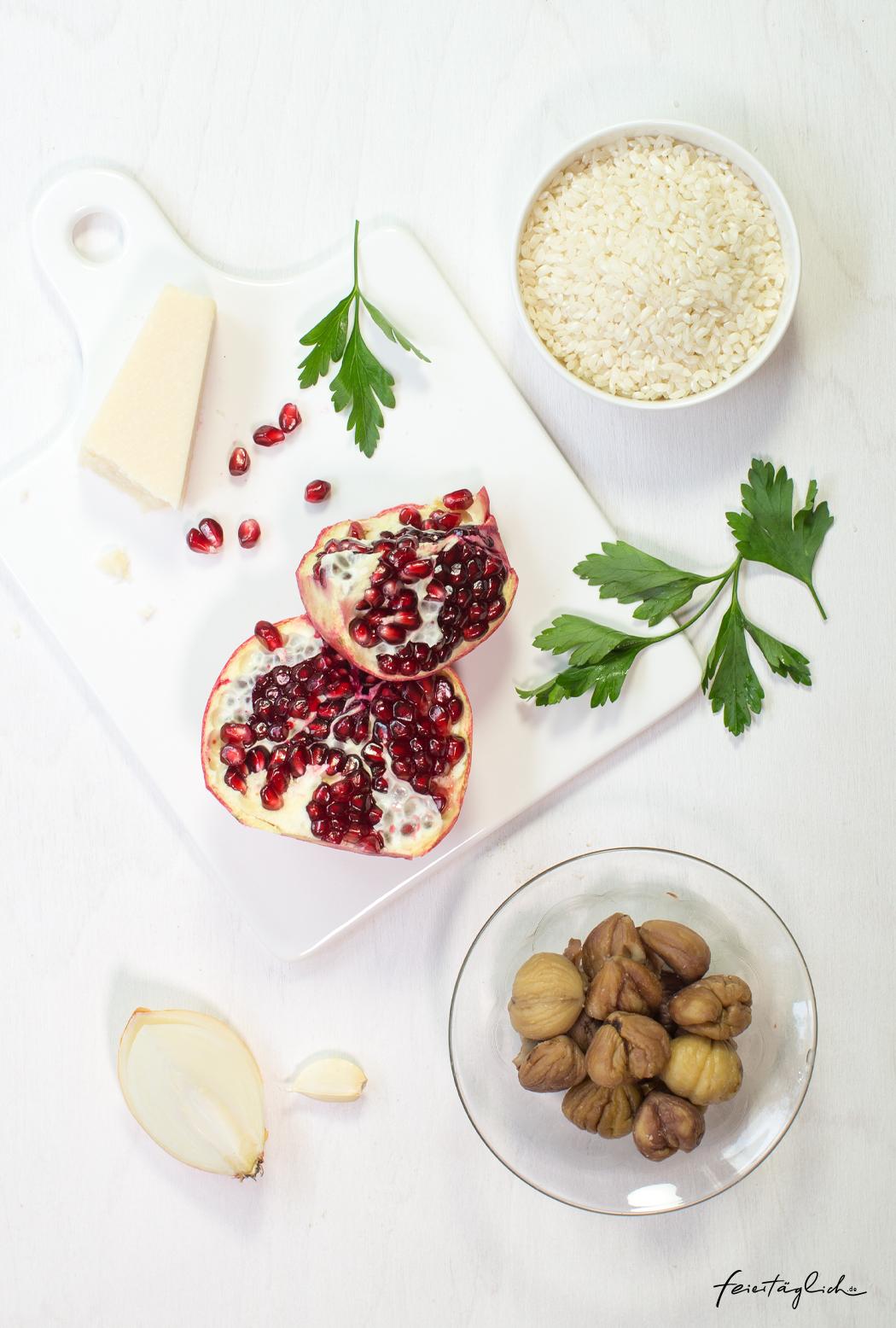 Maronen-Risotto mit Granatapfel und Petersilie, Zutaten