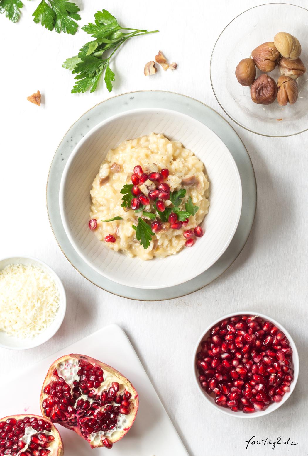 Maronen-Risotto mit Granatapfel und Petersilie, Rezept