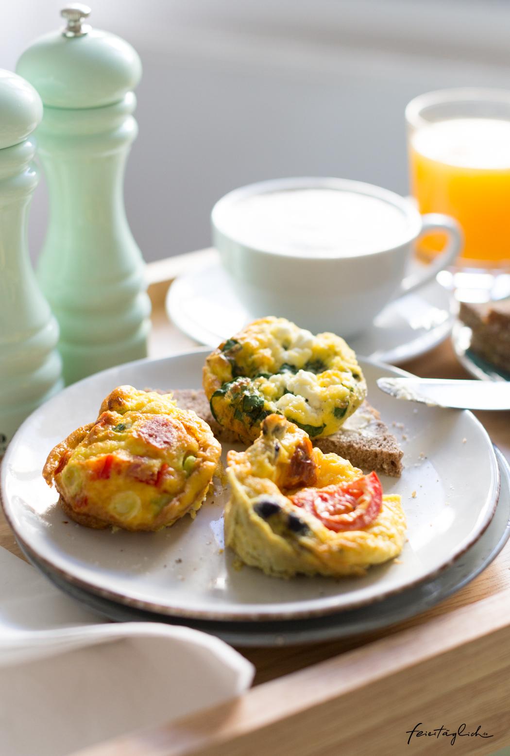 Rezept Omelette aus der Muffinform, Frühstück im Bett
