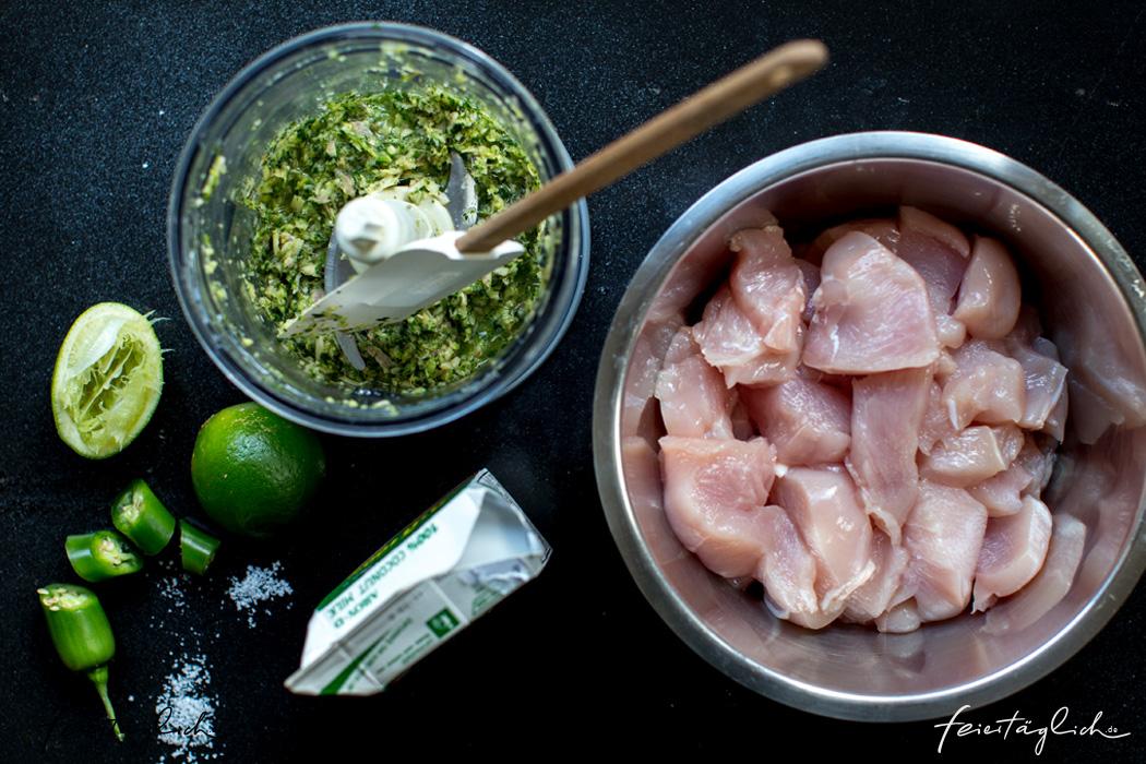 Grünes Zitronengras-Hühnchen-Curry und ein paar Tricks zum Kochen im Wok, Zubereitung