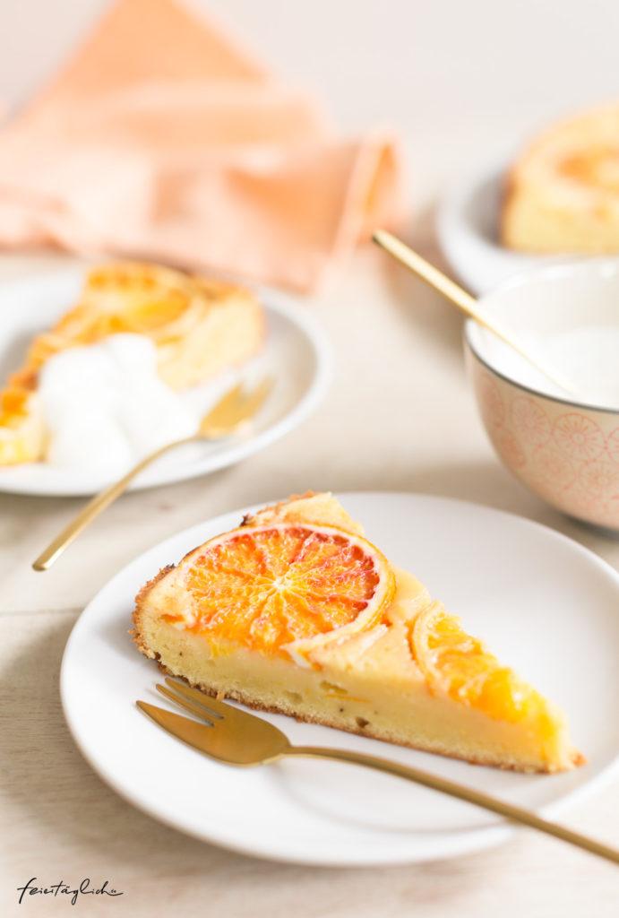 (Sunny)-Upside-Down Orangenkuchen oder einfach so saftiger und sonniger Orangen-Joghurt Kuchen, einfaches Rezept, Rührteig