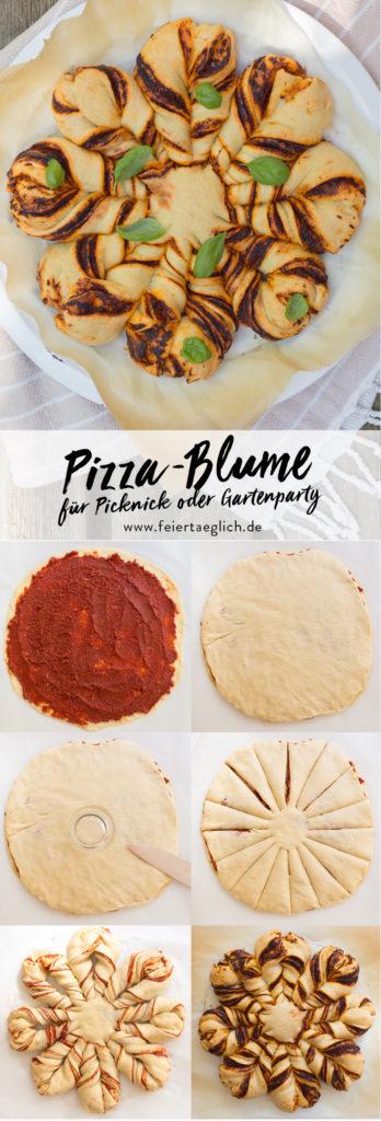 Pizza-Blume, Zubereitung Schritt für Schritt, mit selbst gemachtem Hefeteig – der Knaller bei jeder Gartenparty oder beim Picknick