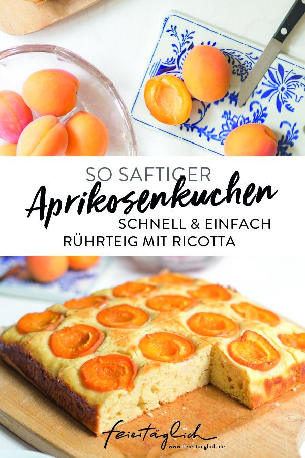 Saftiger Aprikosenkuchen mit Ricotta im schnellen Rührteig, #rührkuchen #kuchen #aprikosenkuchen, Rezept, schnell & einfach