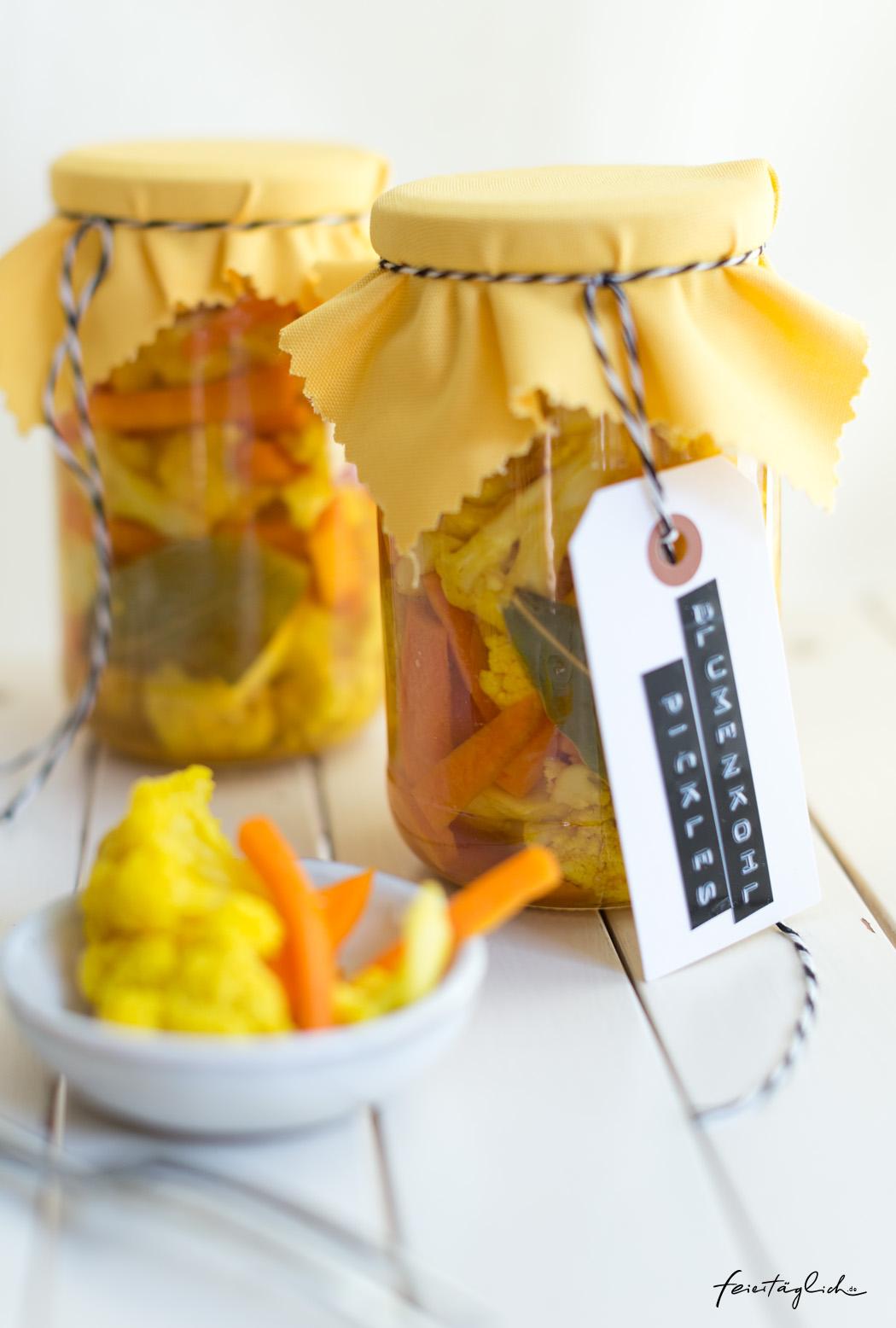 Selbst gemachte Blumenkohl Pickles, schnell & einfach, Geschenk aus der Küche