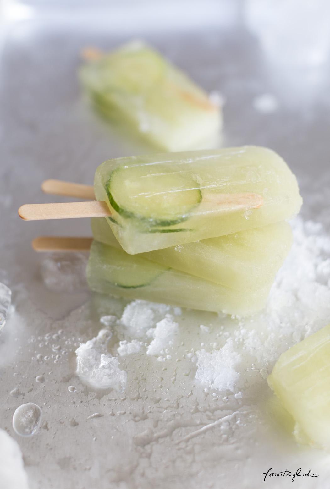 Gurke-Ingwer-Limetten-Eispops, Cucumber-Ginger-Lime-Popsicles, Rezept