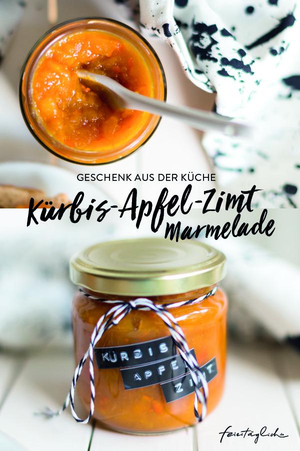 Kürbis-Apfel-Zimt-Marmelade (ohne Zucker), Rezept, Geschenk aus der Küche
