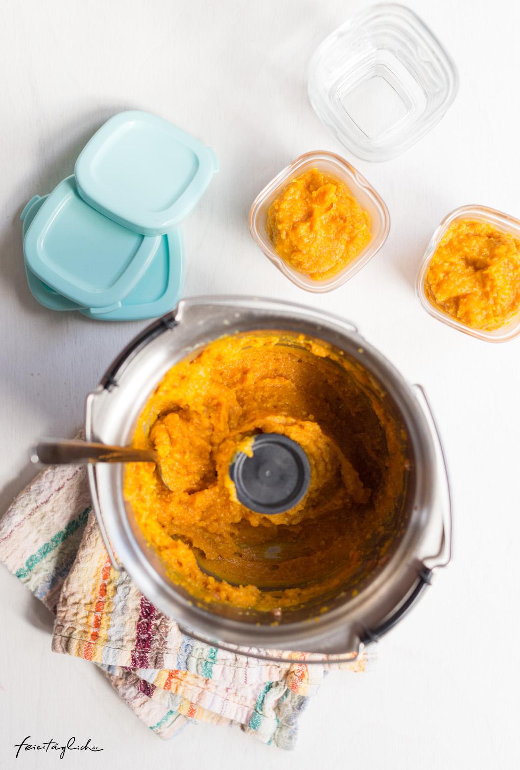 Babybrei mit Kürbis, Süßkartoffel und Emmer, Rezept, i-Prep & Cook Gourmet, ergänzendes Zubehör: Minischüssel