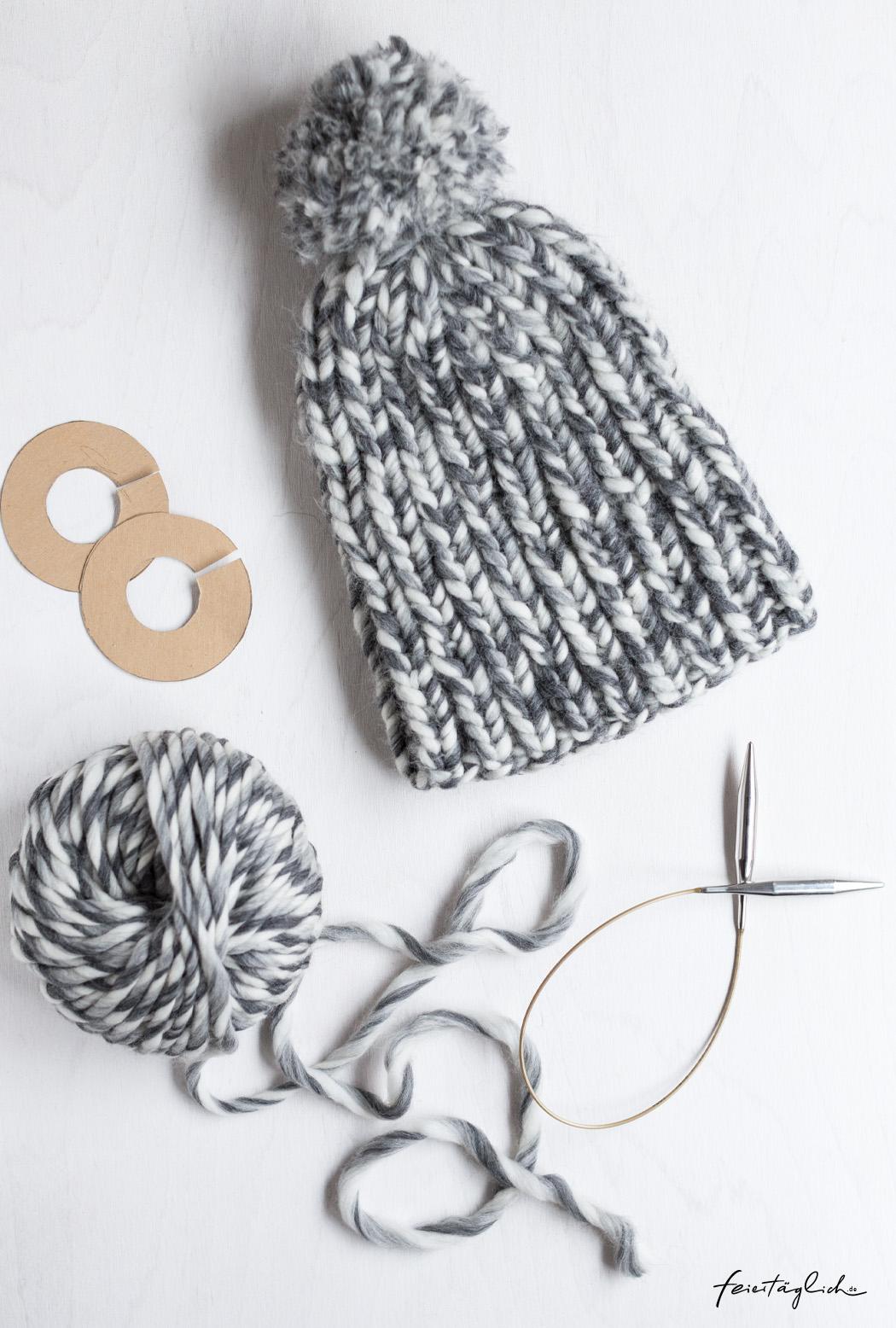 Dicke, kuschelige Pudelmütze, schnell und einfach selbst gestrickt (Strickanleitung auch für Anfänger)